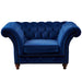 Peyton Sloped Arm Chesterfield Arm Chair - Blue Velvet - Crafters and Weavers