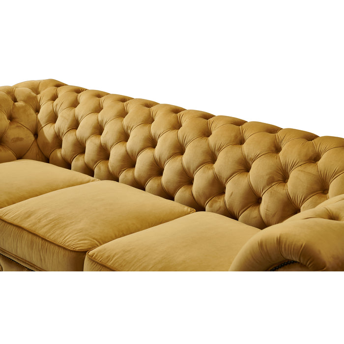 Peyton Sloped Arm Chesterfield Love Seat - Yellow Velvet