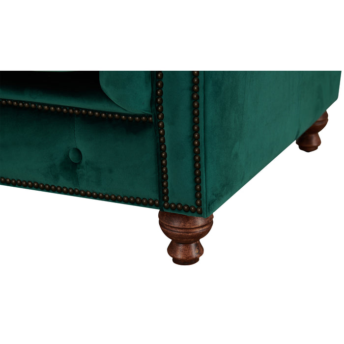 Peyton Sloped Arm Chesterfield Love Seat - Green Velvet
