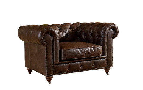 Leather Chesterfield Arm Chair - Dark Brown Leather