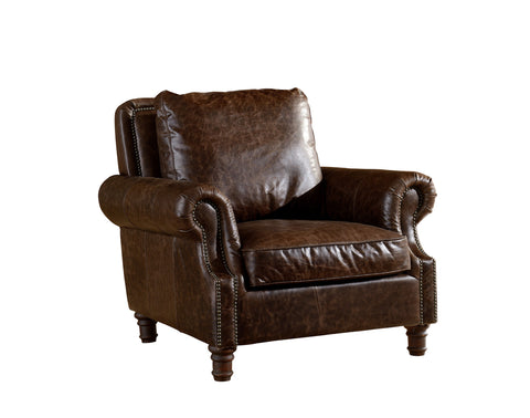 Leather English Rolled Arm - Arm Chair - Dark Brown Leather