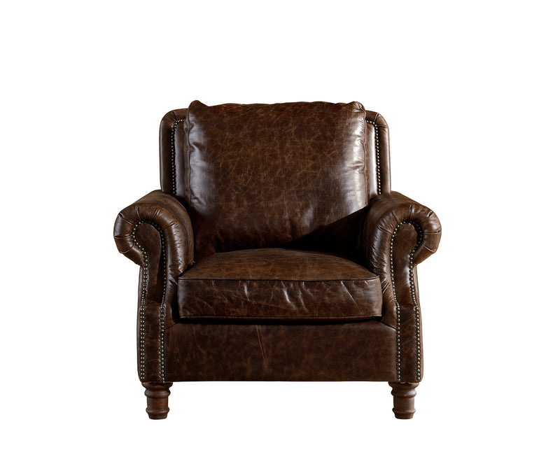 English Rolled Arm Arm Chair Dark Brown Leather