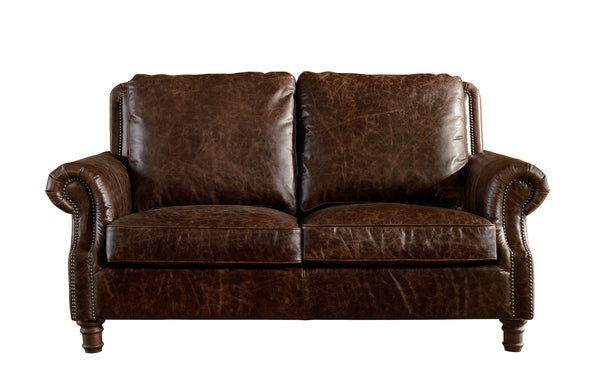 Leather English Rolled Arm Love Seat Dark Brown Leather