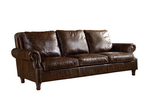 Leather English Rolled Arm Sofa - Dark Brown Leather