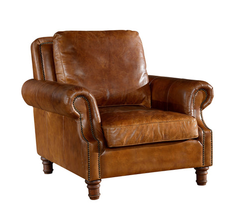 Leather English Rolled Arm - Arm Chair - Light Brown Leather