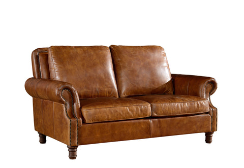 Leather English Rolled Arm Love Seat - Light Brown Leather