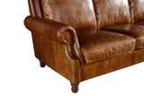 Leather English Rolled Arm Sofa - Light Brown Leather