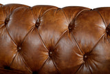 Rolled Arm Leather Chesterfield Sofa - Light Brown Leather