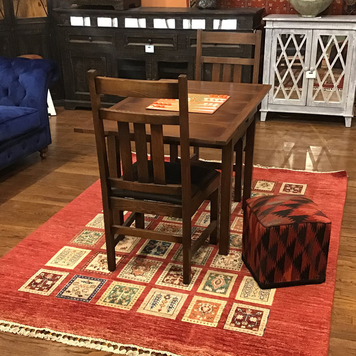 Mission Oak Kitchen Table with 2 Leaves - Dark Brown