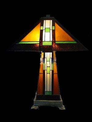 Mission style stained glass table lamp tiffany style mis102lb aloadofball Image collections