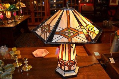 Tiffany Mission style Stained glass Table Lamp 18040LB - Crafters & Weavers - 1