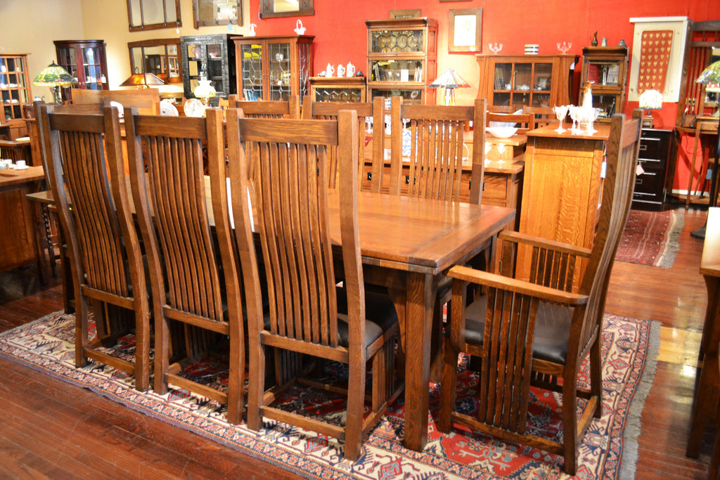 Set Of 8 Arts And Crafts Oak Curved High Back Dining Chairs
