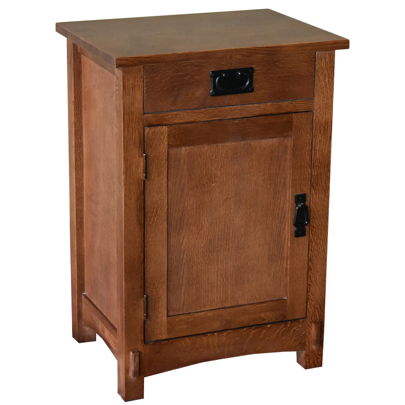 Crofter Style 3 Drawer End Table with Writing Tray - Golden Brown