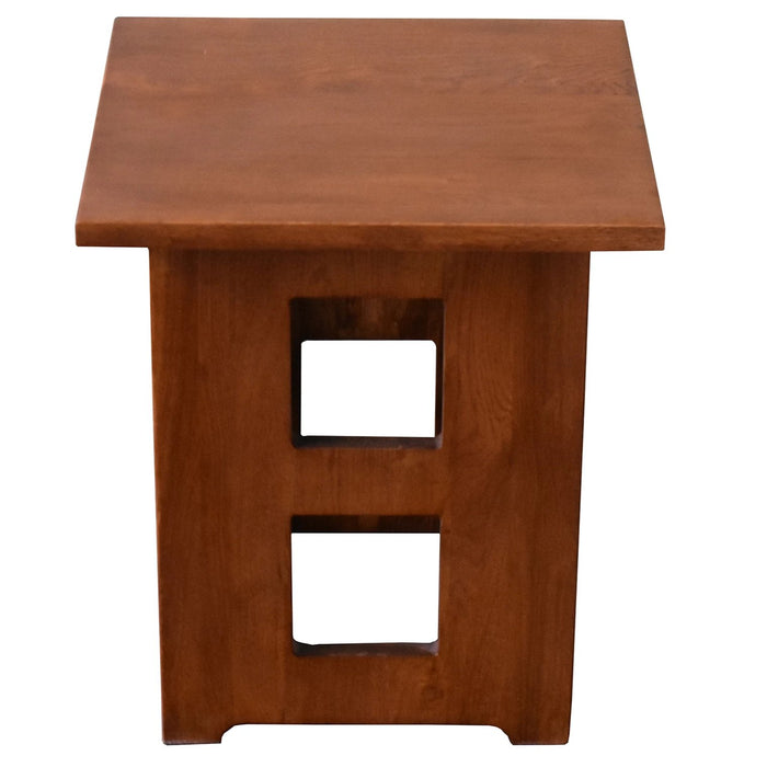 Mission Solid Oak Square End Table with Cut Outs - Michael's Cherry (MC1) - Crafters and Weavers