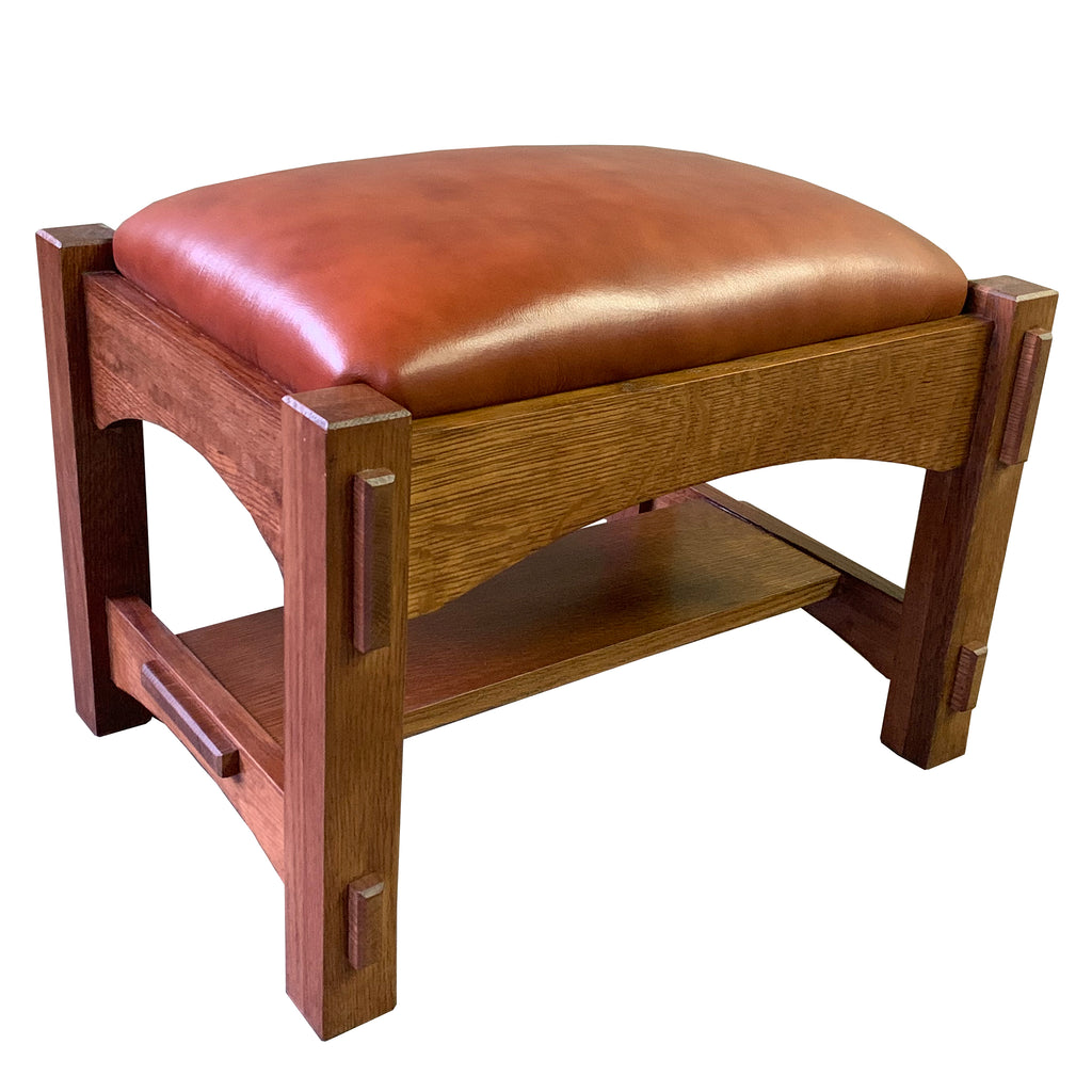 Craftsman / Mission Mortise and Tenon Foot Stool - Russet Brown Leather (RB2)