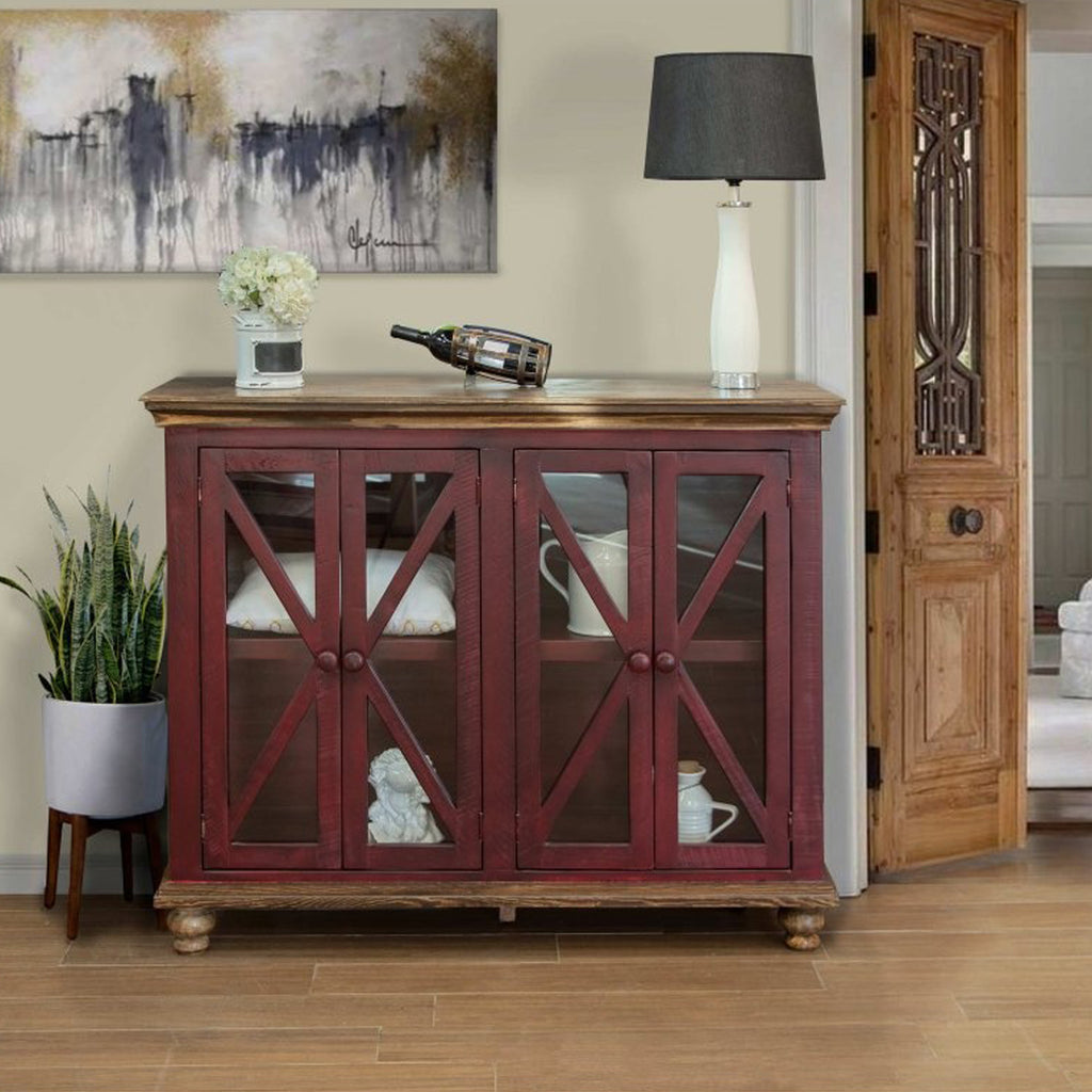 Bayshore 4 Door Crossbar Sideboard - Red