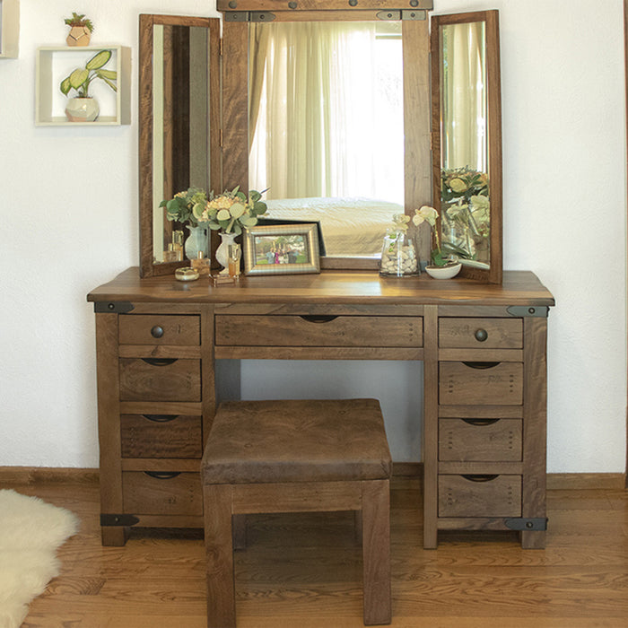 Granville Parota Wood 9 Drawer Vanity