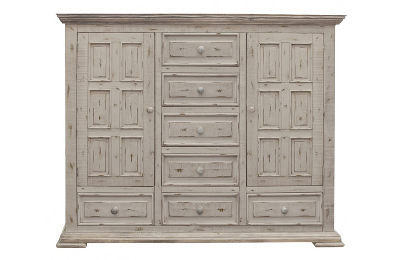 Greenview Carved Panel Chest - Distressed White