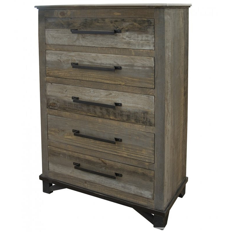 Rustic Industrial Modern Reclaimed Wood 5 Drawer Highboy Dresser Crafters And Weavers