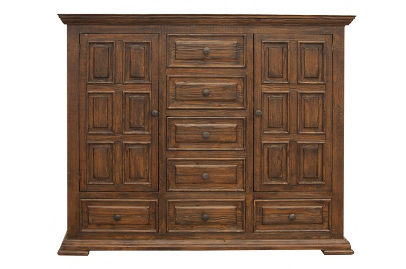 Greenview Carved Panel Chest - Old World Brown