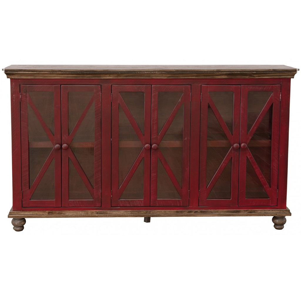 Bayshore 6 Door Crossbar Sideboard - Red