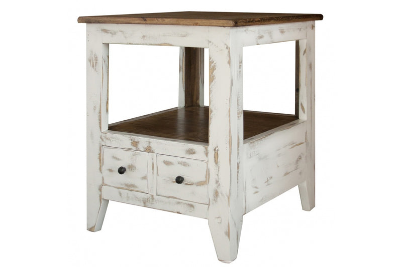 Greenview Mod End Table - Distressed White