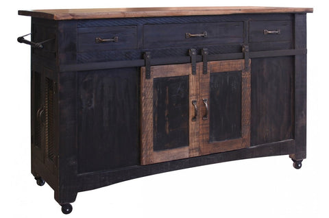Greenview Kitchen Island - Distressed Black