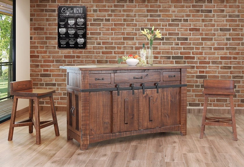 Greenview Kitchen Island - Rustic Brown
