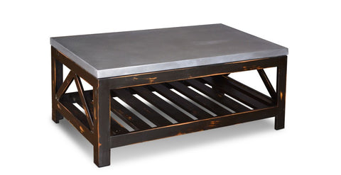 Elements Collection Zinc Top Coffee Table - Crafters & Weavers