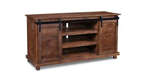 "Westgate 66"" Sliding Door TV Stand - Rustic Brown"