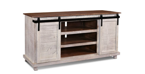 "Westgate 66"" Sliding Door TV Stand - Rustic White"