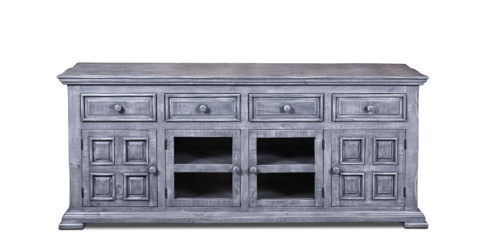 "Keystone Panel 73"" TV Stand - Grey - Crafters and Weavers"