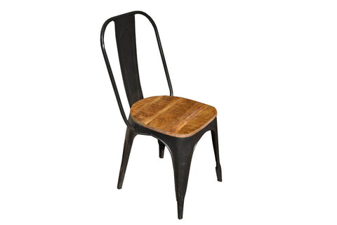 Ashland Wood Seat Forged Iron Chair - Crafters & Weavers