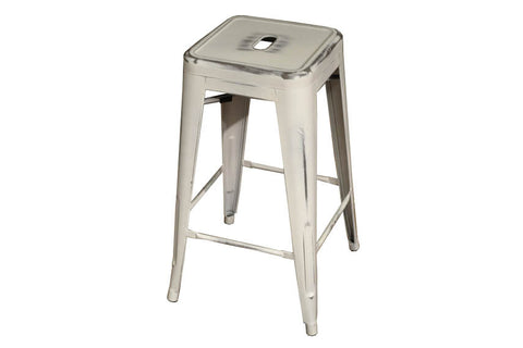 Painted Metal Bar Stool - White - Crafters & Weavers