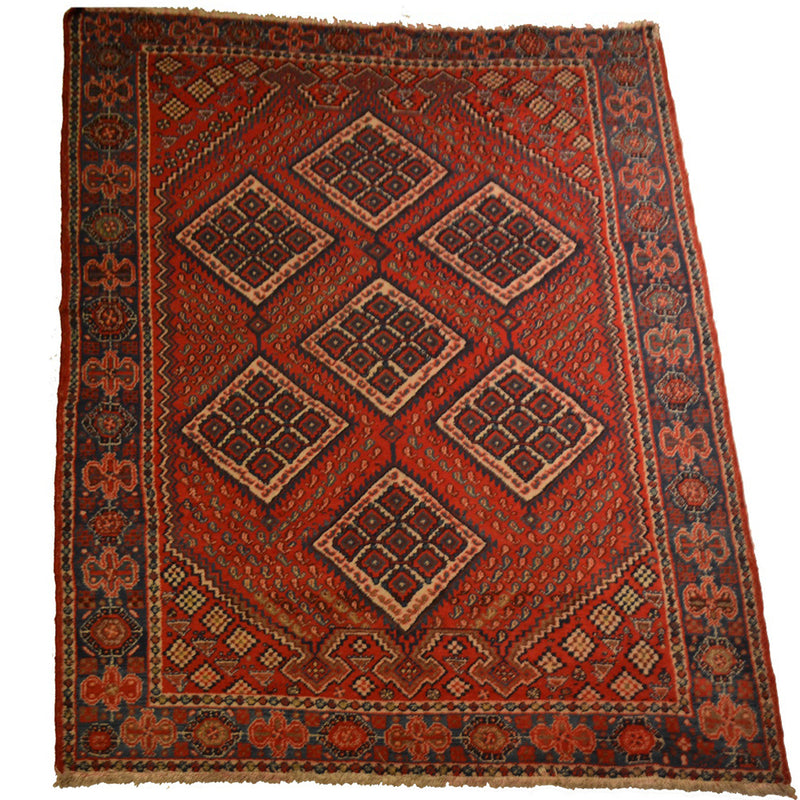 "Antique Persian Shiraz / Oriental Rug 4'10"" x 7'9"""
