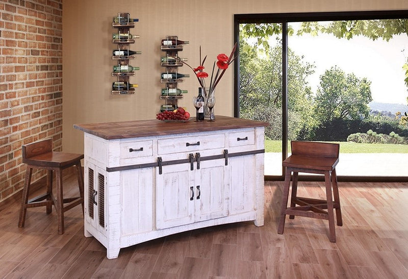 Greenview Kitchen Island - Distressed White - Crafters & Weavers - 2