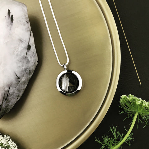 locket love ~ round ~ black tourmaline + quartz