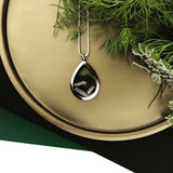 locket love ~ tear drop ~ black tourmaline + quartz