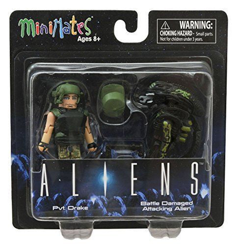 Minimates Aliens Pvt. Drake with Battle-Damaged Attacking Alien