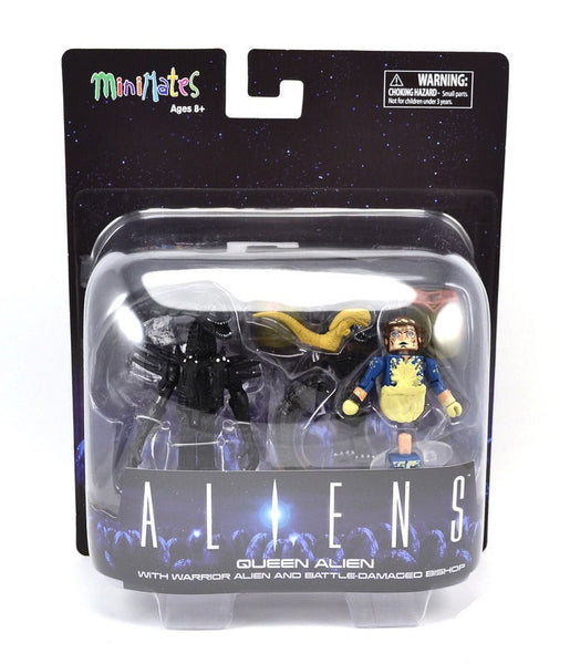 Minimates Aliens Queen Alien with Warrior Alien and Battle-Damaged Bishop