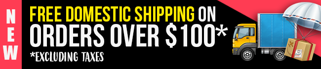 Free domestic shipping on orders over $100