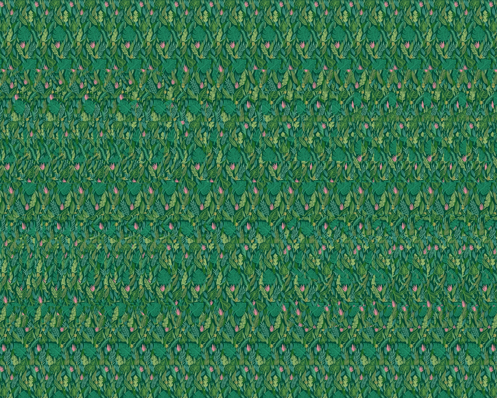 Magic Eye Stereogram Jungle leaves get lost funny sassy tropical leaf illustration drawing