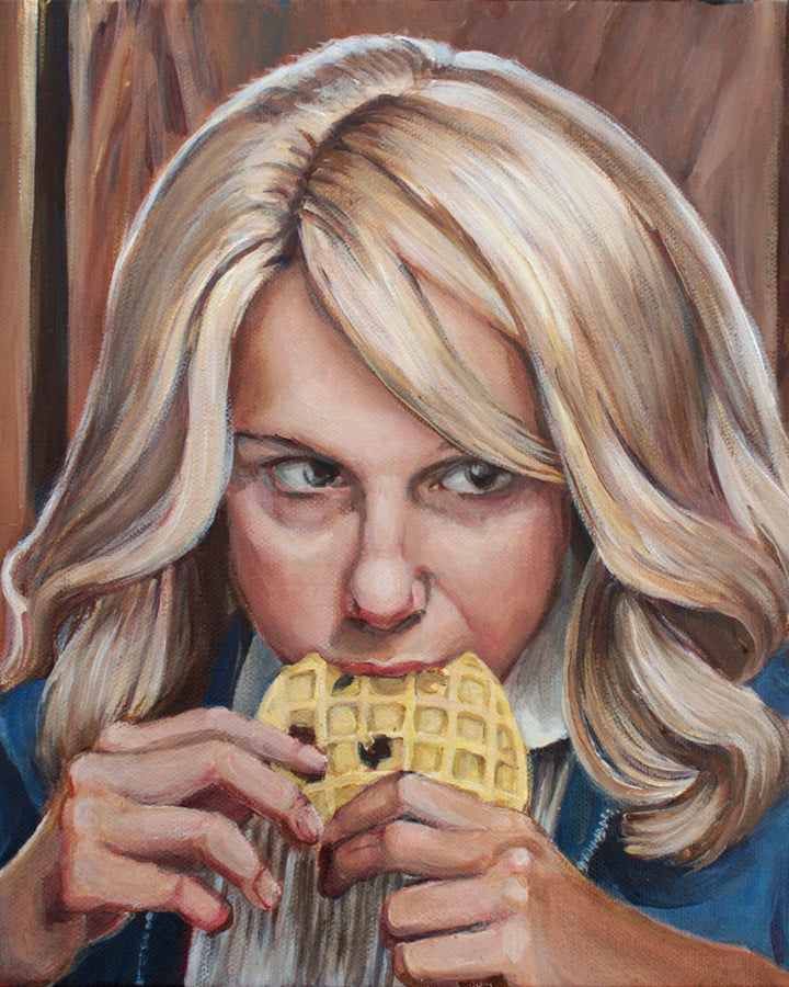 Eleven Eating an Eggo - Stranger Things Painting - Portrait Print
