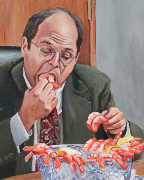 George Eats Shrimp - George Costanza Seinfeld Painting - Portrait Print