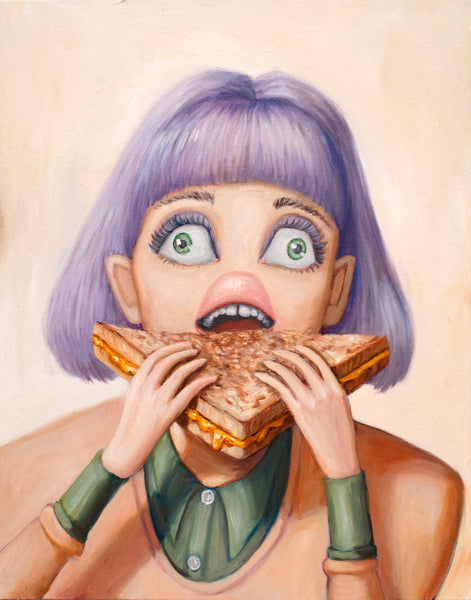 Painting of a woman eating a grilled cheese sandwich. Girl with purple hair about to take a bite. Original art painting by canadian contemporary artist Heather Buchanan