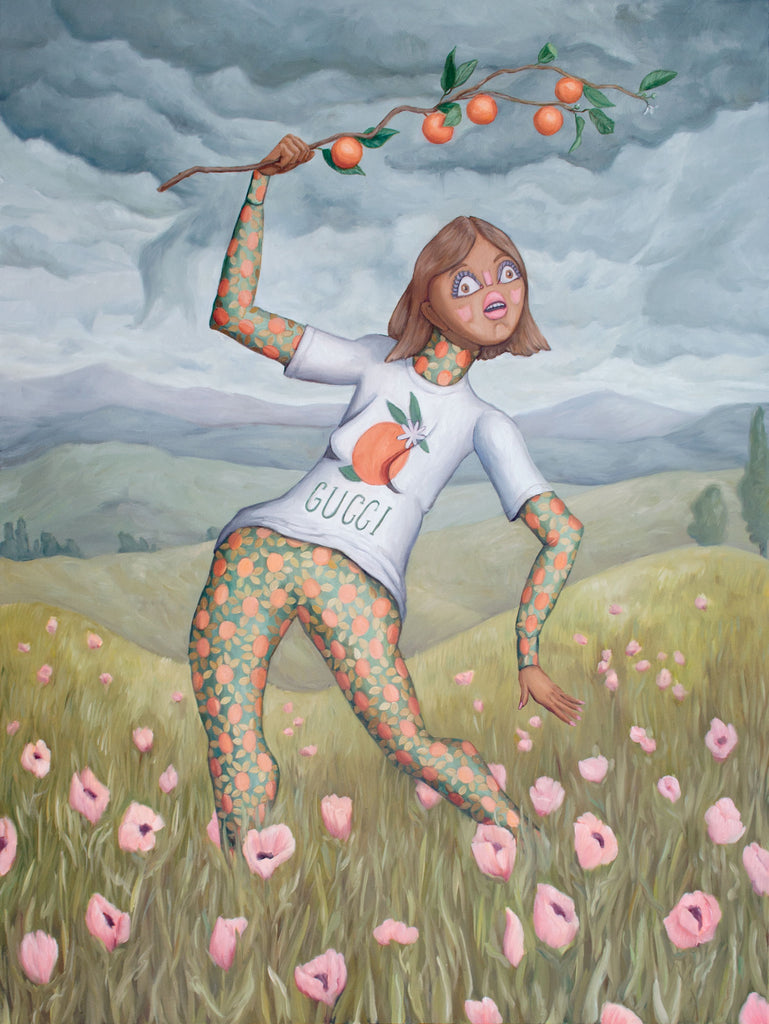 Painting of woman in poppy field fashion editorial painting gucci. Painting by Heather Buchanan