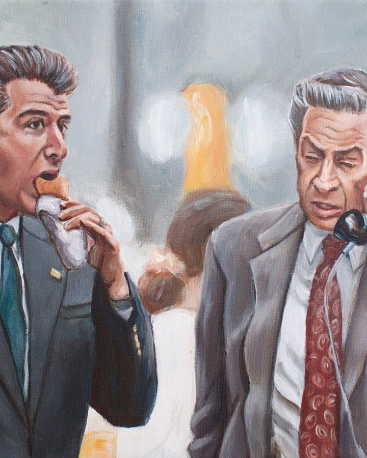 Detective Logan Eats a Hot Dog - Law and Order Painting - Portrait Print
