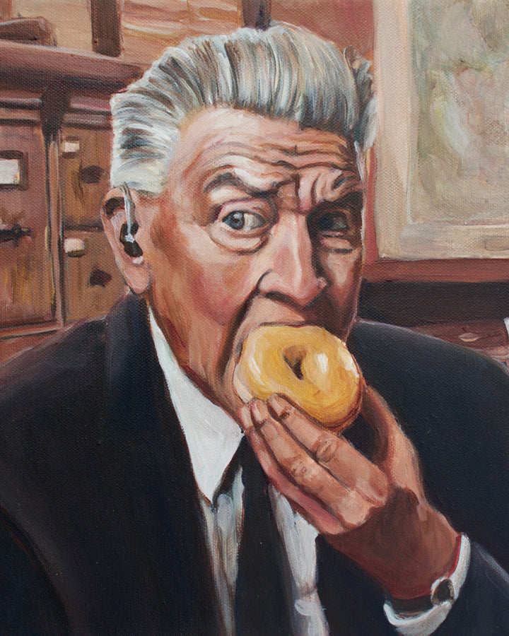 Gordon Cole Eats a Donut - David Lynch Twin Peaks Painting - Portrait Print