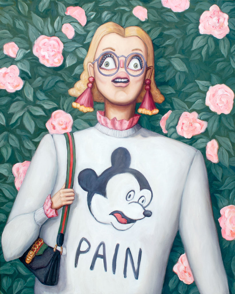 "Original oil painting. fine art original art for sale. Canadian artist. portrait of a woman in a mickey mouse sweatshirt and a gucci bag having a panic attack in front of a beautiful instagram rose wall. She's fashionable, but the mickey mouse on her sweatshirt is having the same anxiety attack that she is. The sweatshirt also says ""Pain"" below the mickey head. It's a humour based piece of art, while also being a sensitive exploration of the pain of and anguish possible in modern existence."