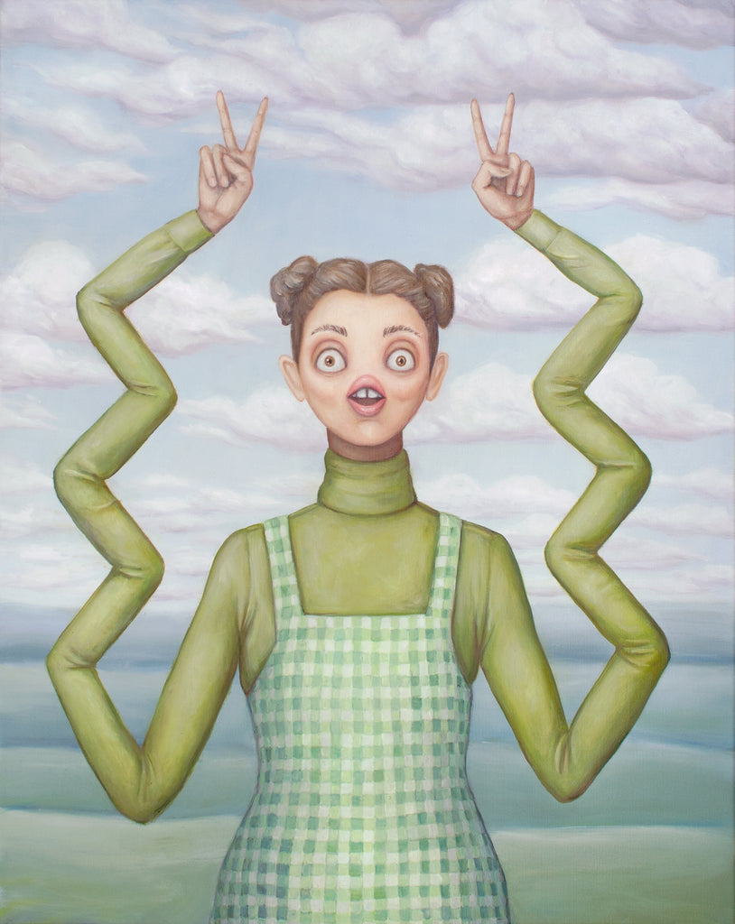 painting of cute woman in turtleneck and lime green gingam dress. She's holding up two peace signs, but her arms are mutant zigzags. She's super cute, yet utterly terrified. There is a pretty landscape in the background. Original painting by artist Heather Buchanan